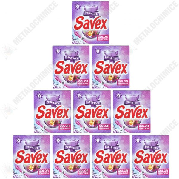Pachet 10 bucati - Savex Color brightness Automat, Detergent pentru rufe la cutie, 10 x 300g