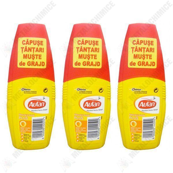 Pachet 3 bucati - Insecticid Autan pentru capuse, tantari, muste 100ml