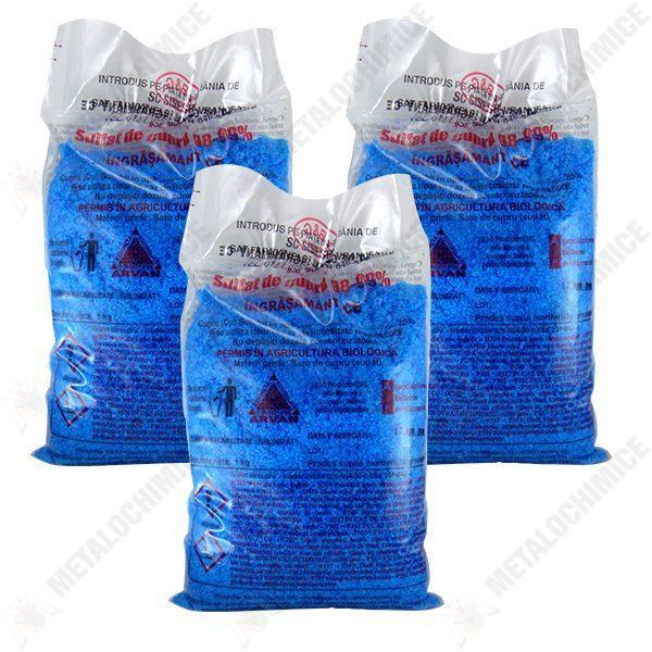 Pachet 3 bucati - Piatra Vanata / Sulfat de Cupru 1000g, pentru zeama bordeleza, 3 x 1kg