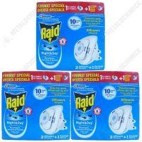 Pachet - 3 cutii cu 2 Raid, Aparat electric, Impotriva tantarilor si mustelor, Night&day + 1 rezerva  din categoria Aparate impotriva insectelor