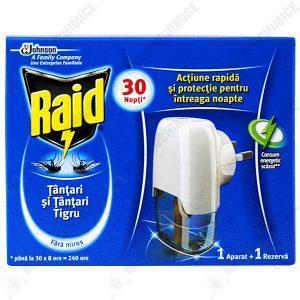 Pachet - 3 x Rezerva lichid, Raid impotriva tantarilor, Mustelor si tantarilor tigru, 30 Nopti, 21ml + 1 x Capcana Raid + 1 x Aparat + 1 x Praf impotriva furnicilor
