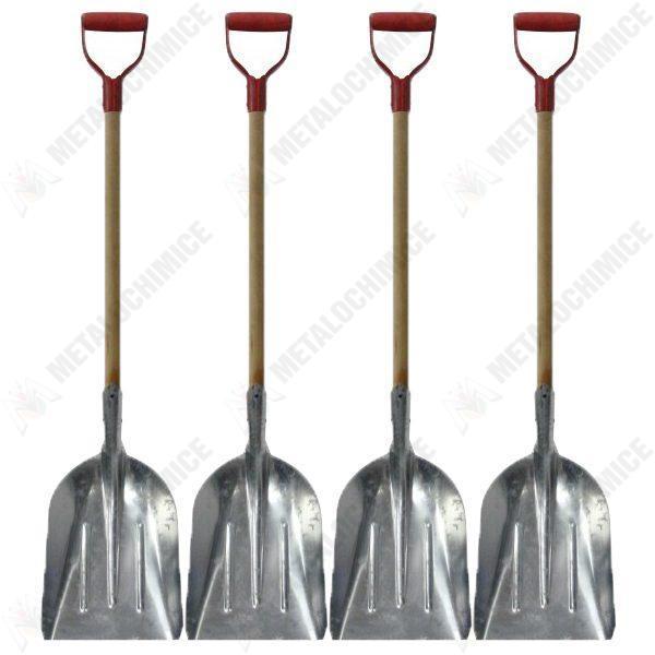 Pachet 4 bucati, Lopata, Din aluminiu, Cu coada si maner, Pentru zapada