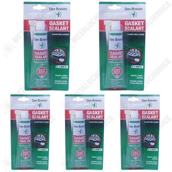 Pachet 5 bucati - Garnitura lichida, Gasket la tub, silicon rezistent la temperaturi inalte, 5 x 80ml