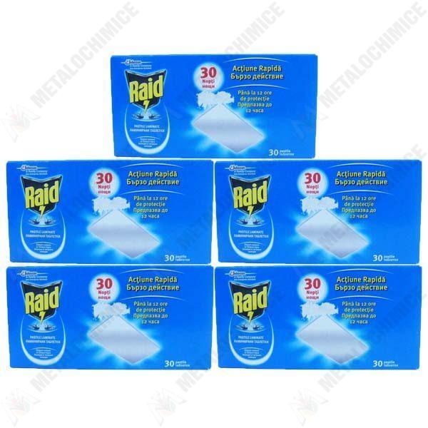 Pachet 5 cutii - Raid tablete, Pastile impotriva tantarilor, mustelor, 5 x 30buc/cutie