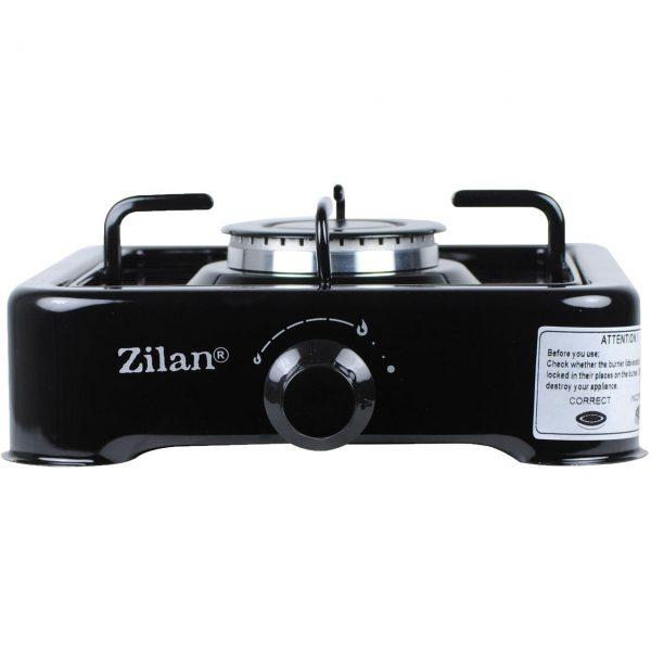 Pachet - Aragaz Zilan, Negru, Cu un ochi + 2m furtun pentru gaz + 2 x coliere pentru furtunul pentru gaz + Ceas pentru butelie