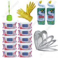 Pachet 15 produse Curatare toaleta cu capac Soft Close dezinfectant perie toaleta manusi si servetele umede