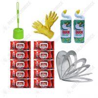 Pachet (15 produse) Igienizare WC cu capac soft close, perie toaleta, dezinfectant, manusi si servetele umede  din categoria Accesorii Baie