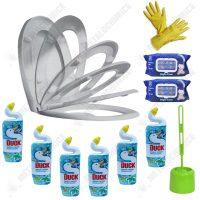 pachet 11 produse curatare si improspatare wc cu perie de toaleta capac soft close manusi de menaj si dezinfectant lichid imagine 1 1