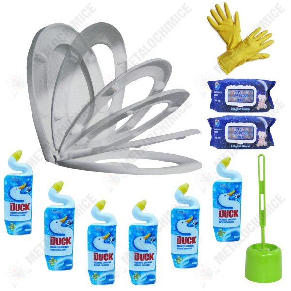 pachet 11 produse pentru baie curatare wc cu perie toaleta servetele umede manusi capac soft close si dezinfectant duck marine imagine 1 1