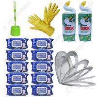 Pachet (15 produse) pentru toaleta cu capac Soft Close perie toaleta, Dezinfectant Duck, servetele umede si manusi  din categoria Accesorii Baie