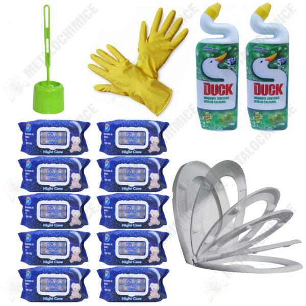 pachet-15-produse-pentru-toaleta-cu-capac-soft-close-perie-toaleta-dezinfectant-duck-servetele-umede-si-manusi-imagine-1