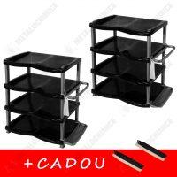 Pachet (4 produse) Rafturi pentru pantofi cu 4 etaje din plastic si perii pantofi cadou  din categoria Diverse mobilier