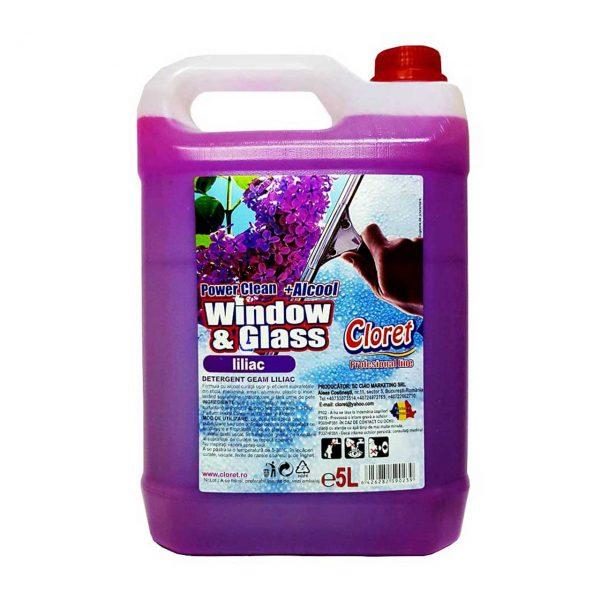 cloret solutie geamuri cu alcool liliac 5l 2