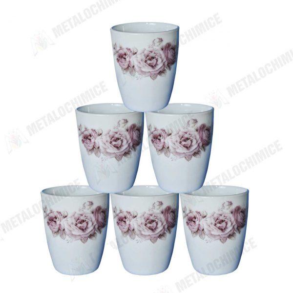 Cani de ceai din opal cu model 300ml Set 6 bucati 1