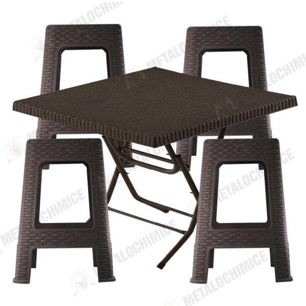 Masa plastic pliabila cu 4 scaune imitatie ratan 1