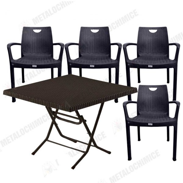Masa plianta de plastic cu 4 scaune model ratan 1