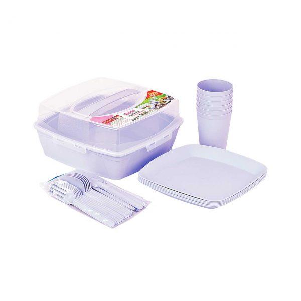 set picnic plastic 6 persoane